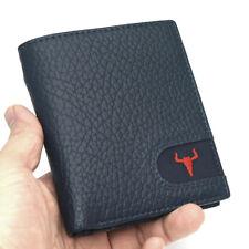 Wallets For Men Bi-fold Credit Card Purse Zipper Pocket ID Photo Window Blue