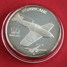 Hurricane 1991 $50 1oz .999 ARGENTO PROOF-Isole Marshall