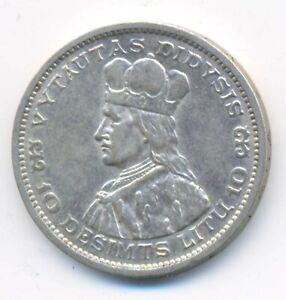 Lithuania Grand Duke Vytautas Silver 10 Litu 1936 XF