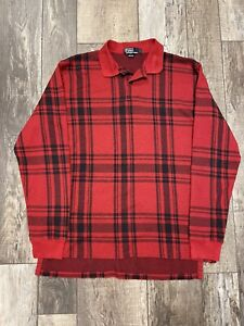Vintage Polo Ralph Lauren Plaid Buffalo Check Rugby Polo Shirt Large Made in USA