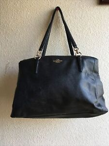 Coach Christie Carryall Satchel Black Crossgrain Leather Pre-Owned Read Conditio