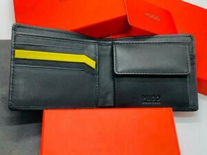 NEW HUGO BOSS MENS SUBWAY 4CC COIN BLACK LEATHER WALLET