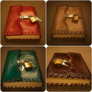 Handmade Embossed Refillable Leather Bound Journal With Lock , Medium Size Diary