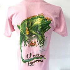 Jimmy Buffett Caribbean Soul Large Pink T Shirt U Wanna Iguana Vtg Usa