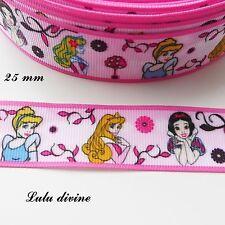 Ruban gros grain rose clair liseré rose Princesses Disney de 25 mm vendu au m