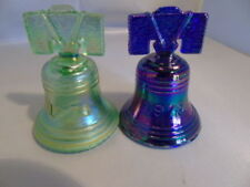 St. Clair Art Glass Punctual Vintage Joe St Clair ~ Glass Liberty Bell ~ Carnival Cobalt Blue Iridescent Blue The Latest Fashion