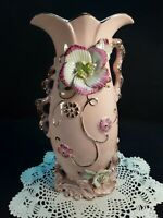Antique Vintage Hand Painted French Porcelain Pink Gold Vase Applied Flowers