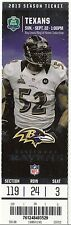 2013 BALTIMORE RAVENS VS HOUSTON TEXANS TICKET STUB 9/22/13 RAY LEWIS RETIREMENT