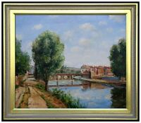 Framed Pissarro Railway Bridge Pontoise Repro, Hand Painted oil Painting 20x24in