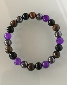 Protection Anxiety Amethyst Tigers Eye Hematite Obsidian Crystal Bracelet