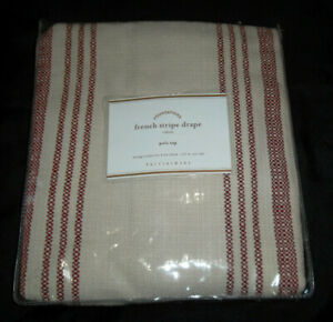 Pottery Barn Foundations 50X63 Pole Top French Stripe Drape Panel Beige Red New