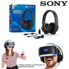 Genuine Sony Gold 7.1 Channel Gaming Headset Mic For Sony Playstation 4 PS4 PSVR