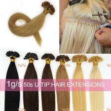 "Remy Human Hair Extensions U/Nail Fusion Keratin Tip Glue Premium 18"" 1g/s 50s"
