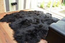 Black sexto icelandic sheepskin carpet natural rug