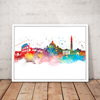 Rome Italy Cityscape Watercolour Decor Art Poster Print - A4 A3 A2 A1 A0 Framed
