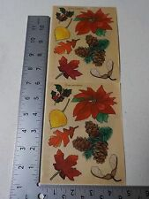 PROVO CRAFT WINTER & FALL POINSETTIA PINECONE LEAVES STICKERS SCRAPBOOKING A2492