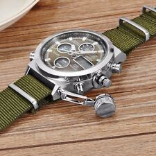 Mens Military Army Green Nylon Canvas Analog Digital Quartz LED Sport Wristwatch