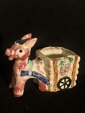 Vintage Mcm Ceramic Donkey Pulling Cart Planter 1960's Japan