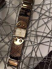 Sehr Schöne Damen Uhr Armband Leder Michael Kors Gold MK-2114 Schlangen Look
