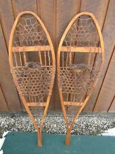 "VINTAGE Set of Snowshoes 44"" Long by 12"" Wide with  Leather Bindings"