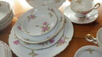 Vintage Fine China Dinnerware set Rosetta MIKASA Fine China Service 6 Gold 42 pc
