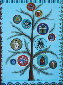 Winter Tree 12 x 16 ORIGINAL CANVAS PAINTING Folk ART Abstract PRIM Karla Gerard