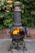 TOLEDO EXT grandi Chimenea 129cmh GARDEN PATIO HEATER Fire Woodburner In Ghisa