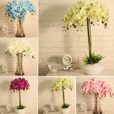 8 Heads Plastic Fake Flowers Green Leaves Artificial Butterfly Orchid Leaf Silk