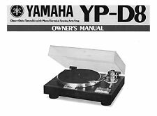 Yamaha YP-D8 Turntable Owners Manual