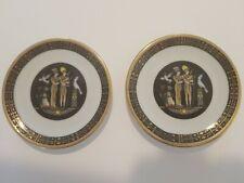 Sheeni - Fine Porcelain Miniature Plates- Gold Trim Scene Set of 2 Hieroglyph