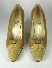 Ferragamo Shoes Size 6 C WIDE Womens Leather Italy Pumps Brown Snakeskin