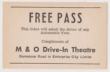 VINTAGE ENTERPRISE AL M & O DRIVE IN MOVIE THEATRE FREE PASS