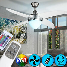 RGB LED Colour Changing Ceiling Fan D 122 Cm Remote Control Bedroom Dimmer
