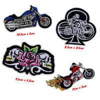 Bikers Badges Cruiser, Skull with Flower Fire bike Iron/Sew on Embroidered Patch