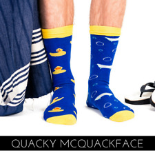 Funny Duck Odd Socks Quality Combed Cotton Great Gift Idea 'QUACKY MCQUACKFACE'