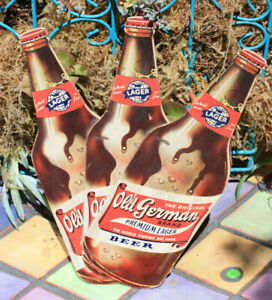 1950's Old German Die-Cut Cardboard Beer Sign, Feat. Qt. Bottles, Cumberland, MD