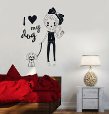 Vinyl Decal Pretty Teen Girl With Dog Room Decor Wall Stickers (ig3518)