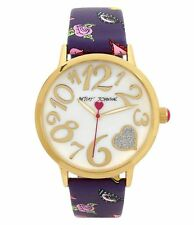 Betsey Johnson Analog Rose & Glasses Leather-Strap Watch bj00496-57