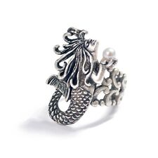 NEW SWEET ROMANCE ART NOUVEAU MERMAID ADJUSTABLE RING SILVERTONE  ~~MADE IN USA~