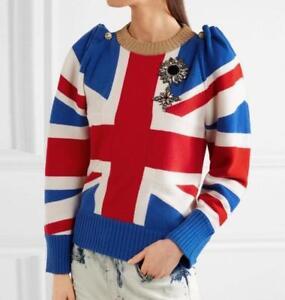 Womens girls British flag sweater Wool Blend spring wool O neck Jumper Sweater
