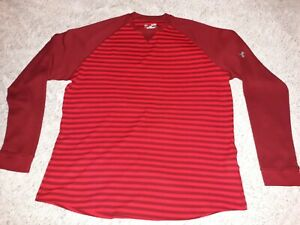 MENS UNDER ARMOUR LOOSE FIT LONG SLEEVE THERMAL SZ XL RED STRIPED