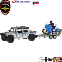 Diecast Russian Police Cars Kit Scale 1:36 Hummer H1 With Motorcycle On Trailer