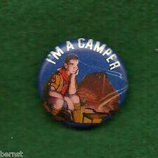 "VINTAGE  BOY SCOUT PINBACK - I'M A CAMPER - 7/8"" - FREE SHIPPING"