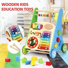 Wooden Baby Education Toy Kids Push Activity Colourful Toys w/Musical Instrument