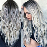 28'' Women Long Wavy Wigs Gradient White Black Gray Ombre Hair Wig UK Cosplay CZ