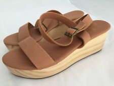 NISOLO Sarita Tan Leather Wooden Wedge Sandals Size 8.5 M