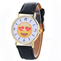 Fashion Women Girl Cute Expression Stainless Steel Leather Quartz Wrist Watch