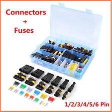Waterproof Car 1-6 Pin Electrical Connector Terminal +Standard Mini Blade Fuses