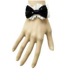 Bracelet femme chic noeud papillon sequins noir et satin plissé blanc Gothique