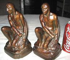 Antique Nuart Indian Bow Arrow Hunting Bird Bronze Statue Sculpture Bookends
